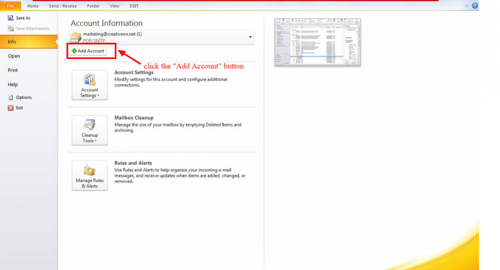 how to add email account in outlook1