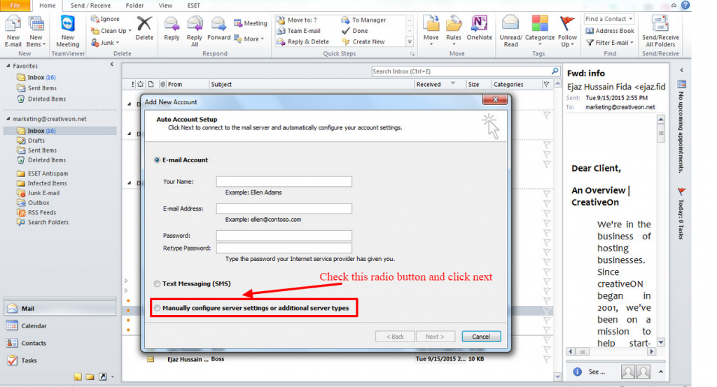 how to add email account in outlook2