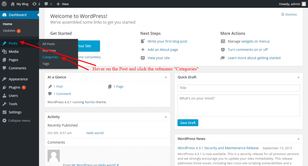 how to add categories and post in wordpress - 1