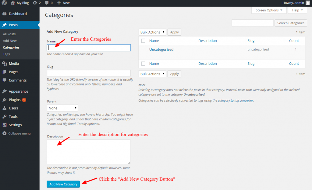 how to add categories and post in wordpress - 2