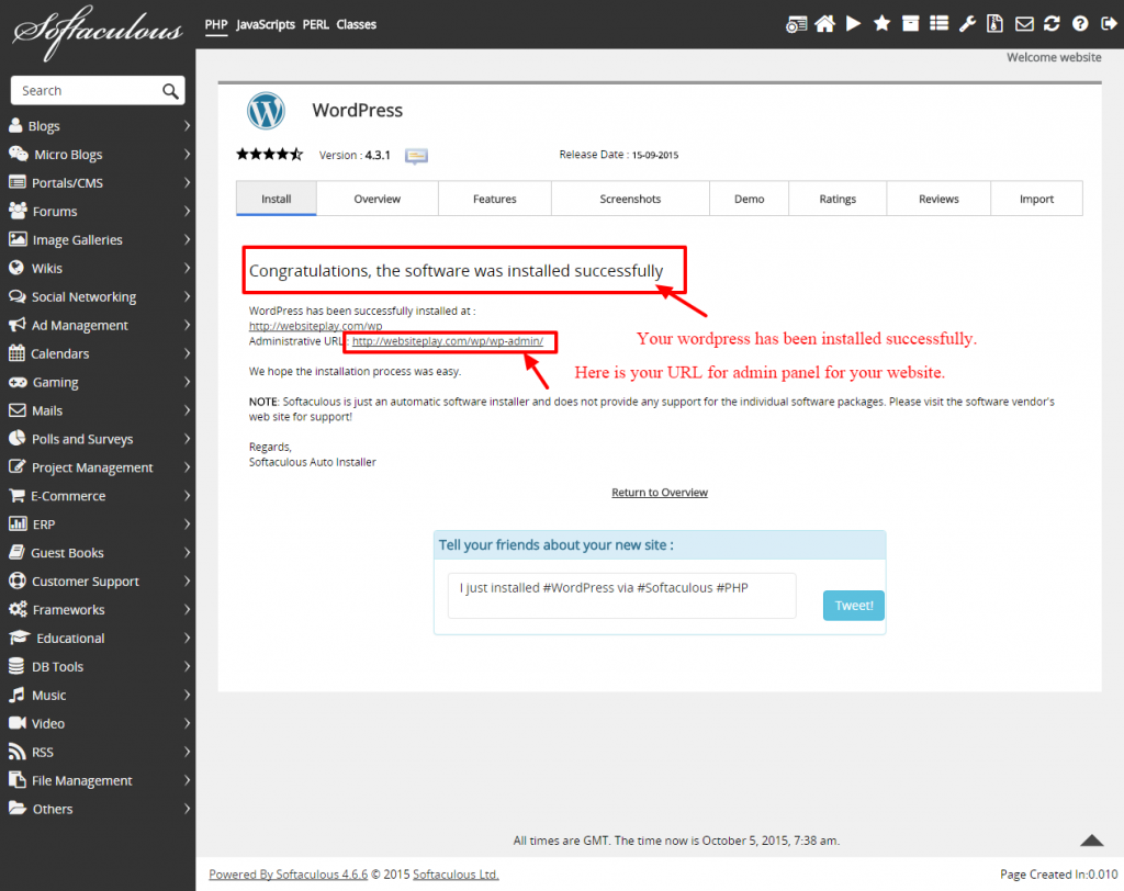 how to install wordpress using softaculous-4