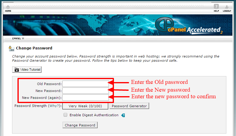 change the cpanel password-2