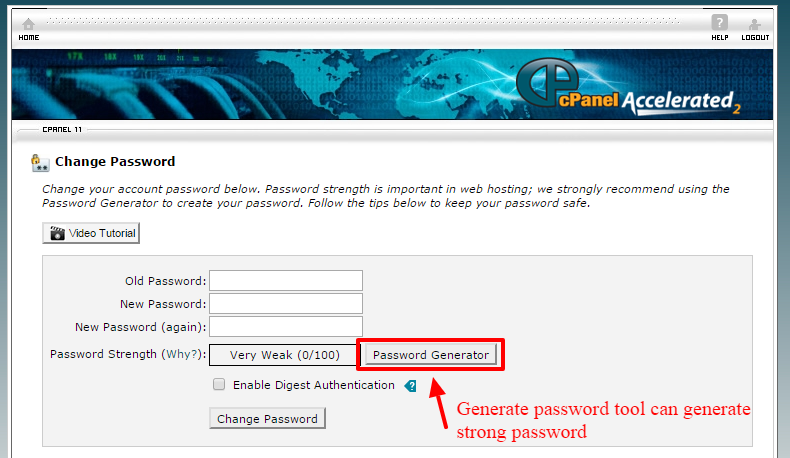 change the cpanel password-3