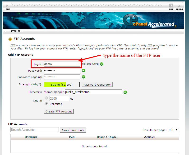 creating ftp account 3