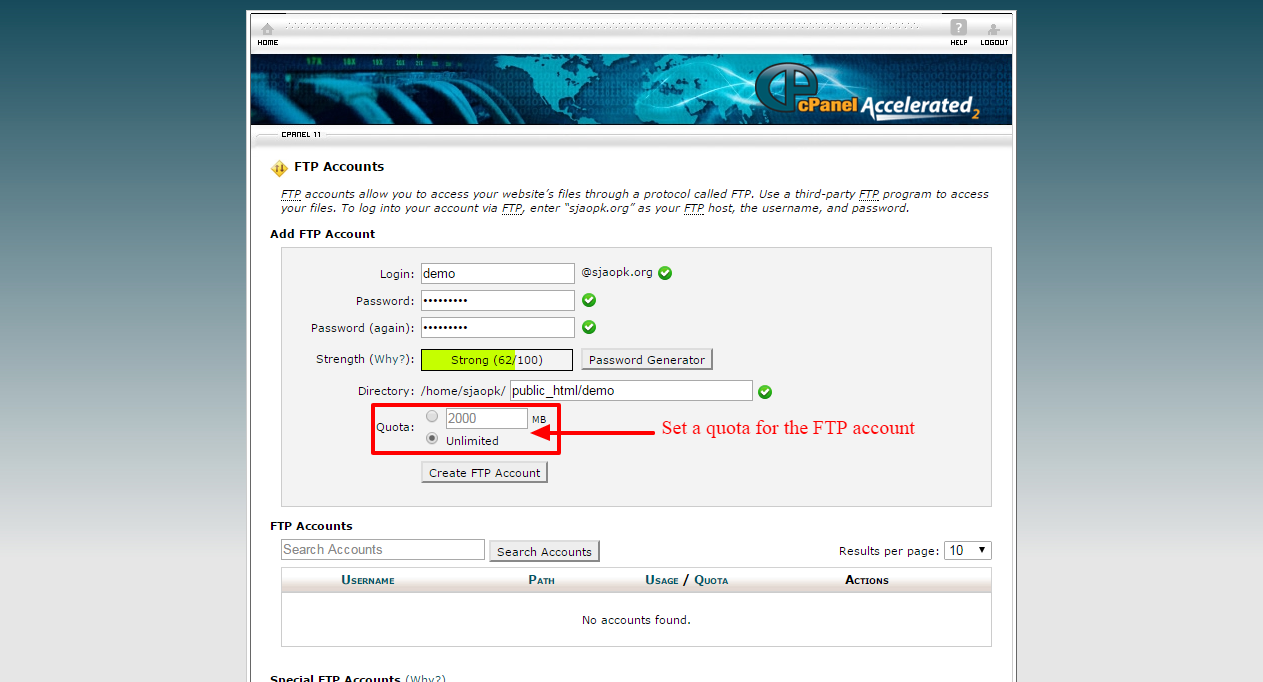 creating ftp account 5