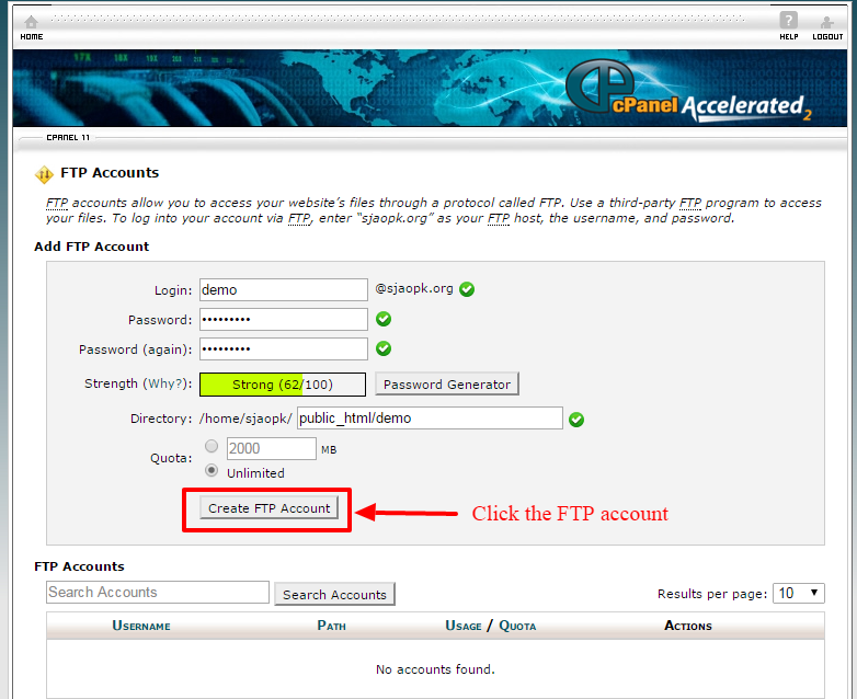 creating ftp account 6
